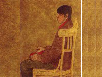 Young men _ sitting on chairs